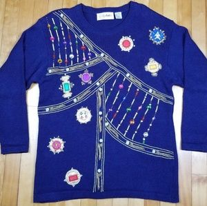 VTG Sweater Beaded Chunky Jeweled Embellished M